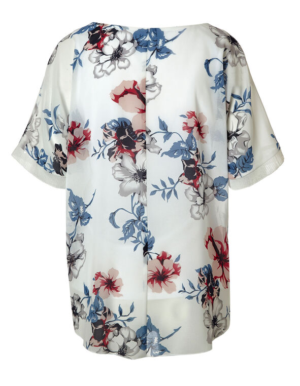 White Floral Sequin Detail Blouse, White, hi-res