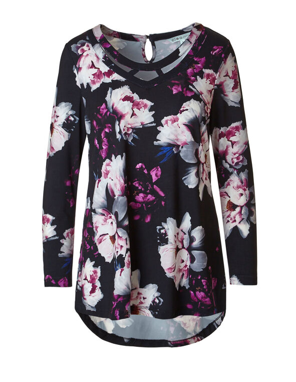 Sangria Floral Printed Tunic Top, Black/Sangria, hi-res