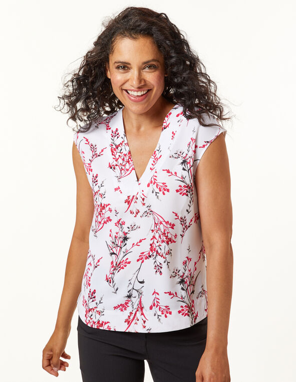 White Floral V Neck Blouse, White/Pink, hi-res