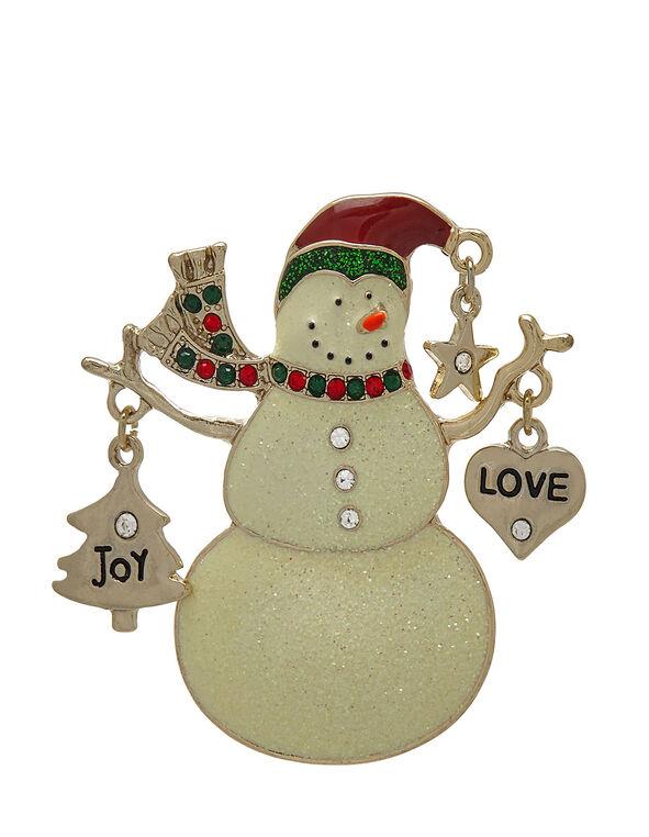 Snowman Pin, White, hi-res