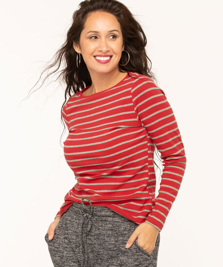 Long Sleeve Boat Neck Tee, Red/Grey Stripe, hi-res