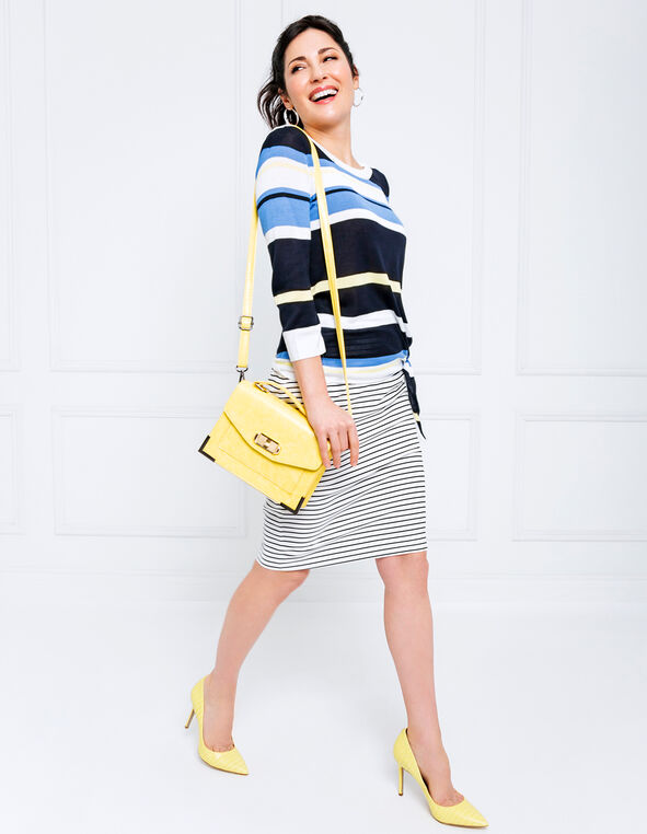 Stripe Tie Front Sweater Look, , hi-res