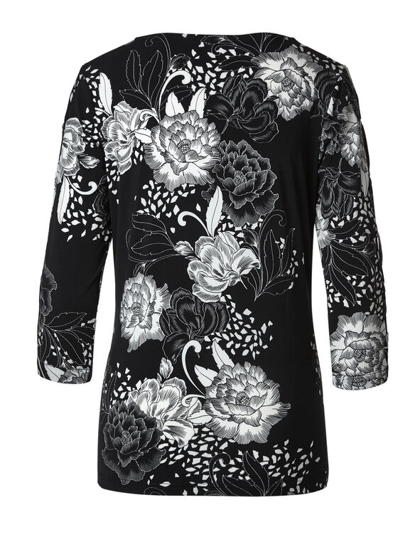 Black Floral Top, Black, hi-res