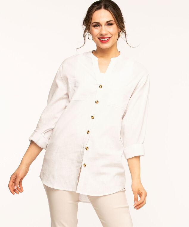 White Cotton Blend Tunic Blouse, White