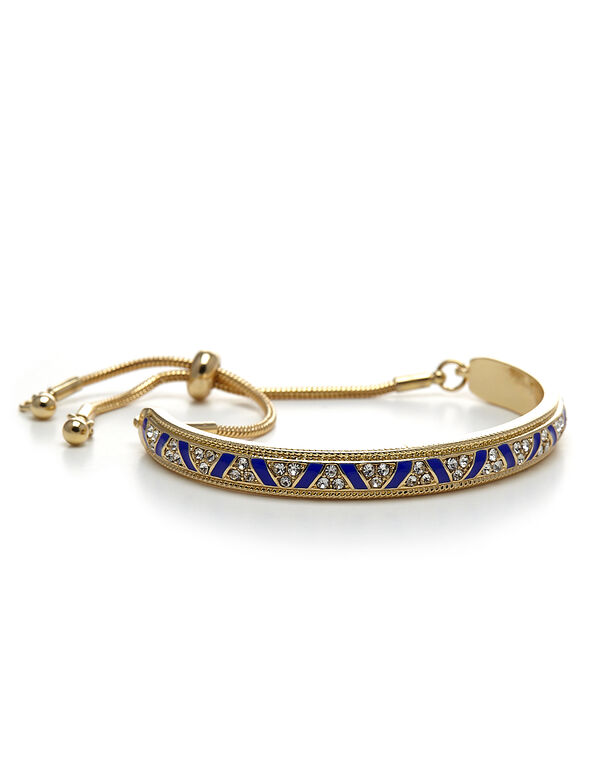 Blue Accent Adjustable Bracelet, Gold/Blue, hi-res