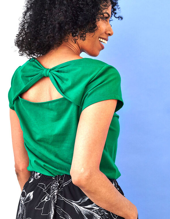 Green Bow Back Cotton Tee, Kelly Green, hi-res