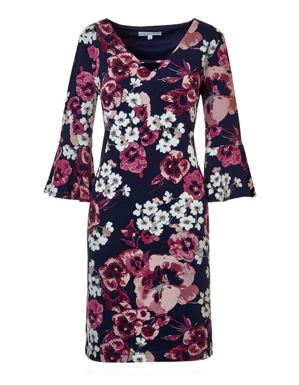 Claret Bell Sleeve Dress, Navy/Claret/White/Dusty Pink, hi-res