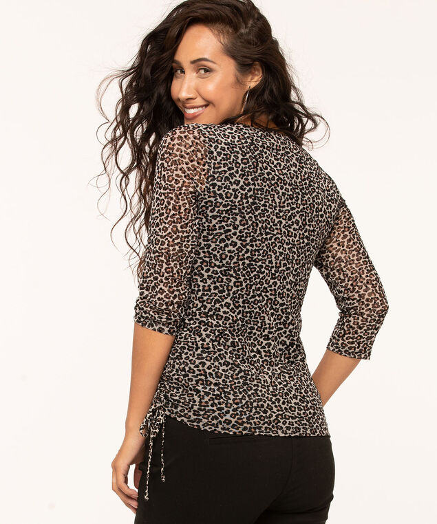 Leopard Print Side Ruched Top, Md Brown, hi-res