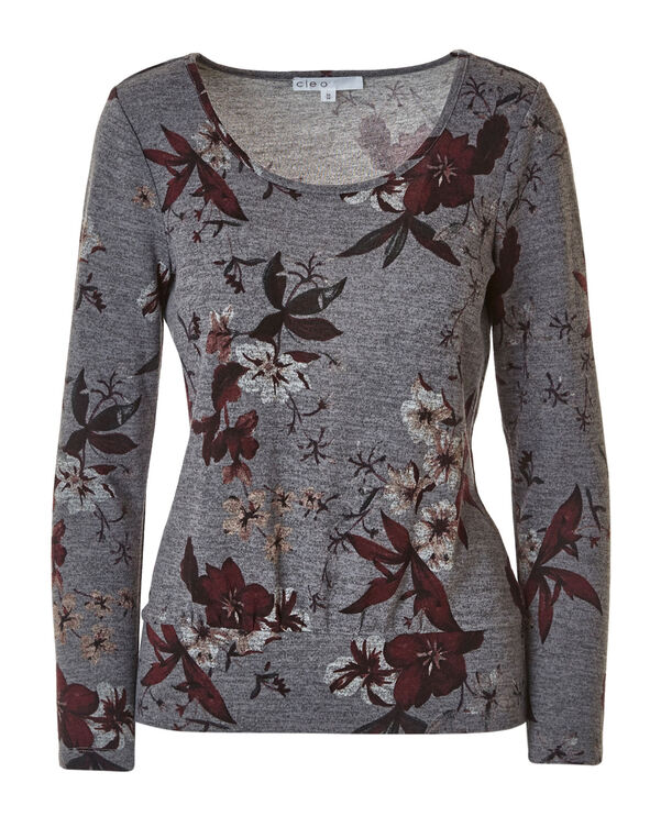 Grey Floral Hacchi Top, Grey, hi-res
