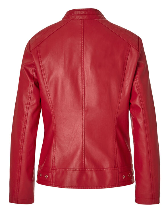 Red Scuba Faux Leather Jacket, Red, hi-res