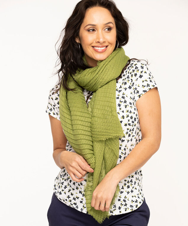Avocado Pleated Oblong Scarf, Avocado Green