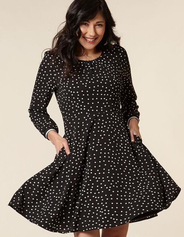 Black Polka Dot Crepe Dress, Black, hi-res