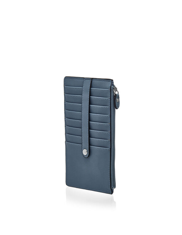 Blue Exterior Card Holder Wallet, Blue, hi-res