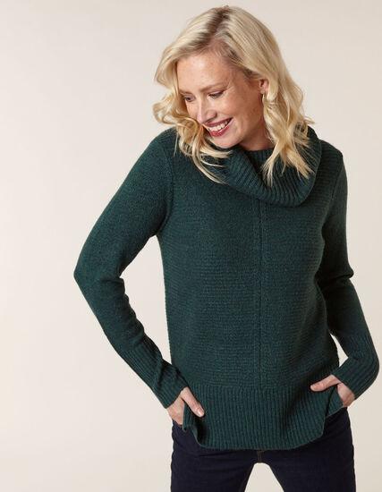 Emerald Rib Stitch Sweater, Emerald, hi-res