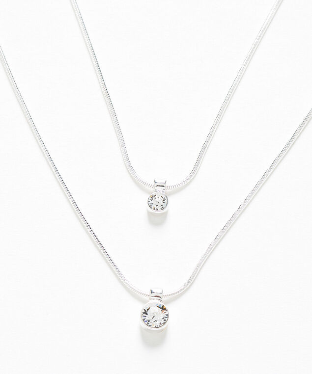 Layered Genuine Crystal Necklace, Silver, hi-res