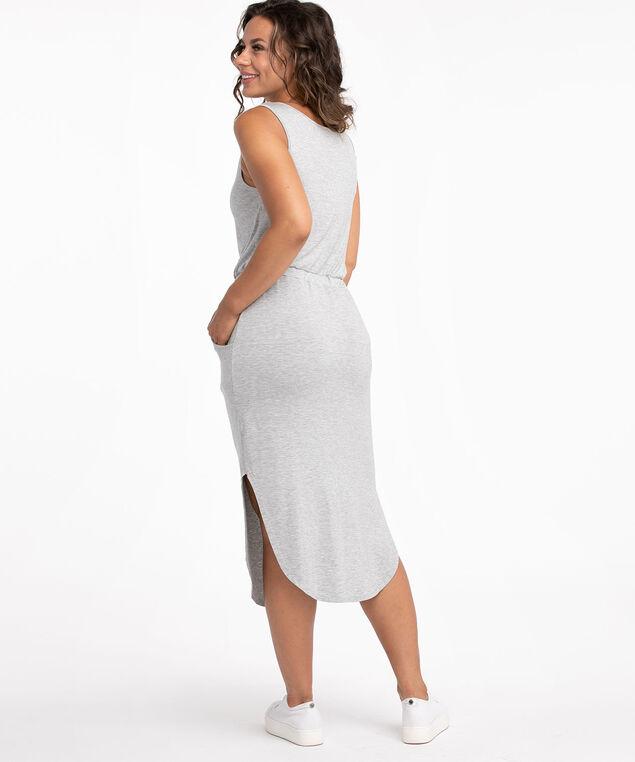 V-Neck Drawstring Pocket Dress, Grey