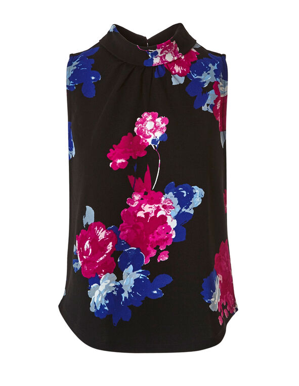 Black Floral Crepe Top, Black, hi-res
