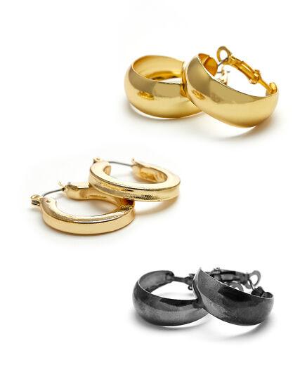 Tri Hoop Earring Set, Gold/Hemi, hi-res