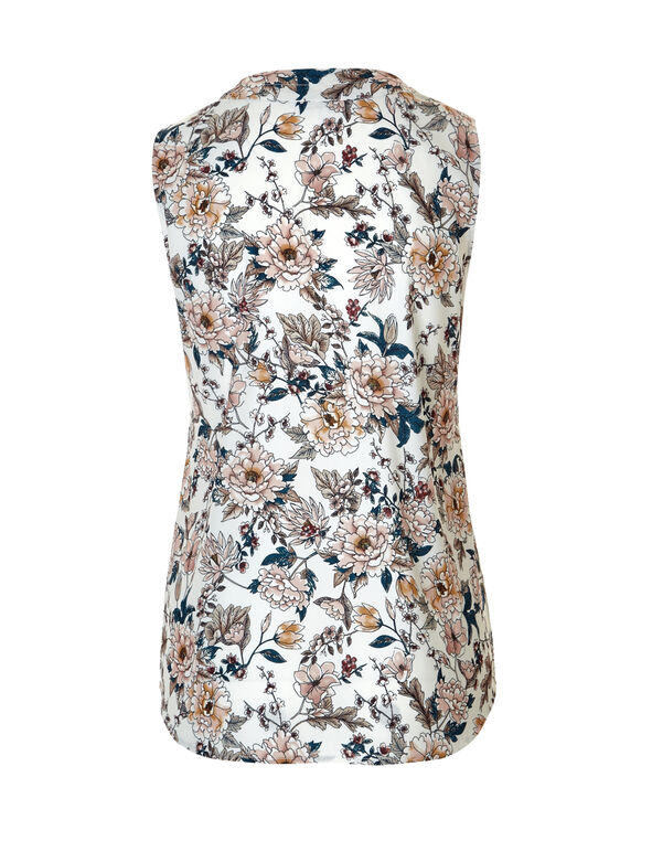 Floral Print V-Neck Blouse, White/Saffron/Pink Sand/Turquoise, hi-res