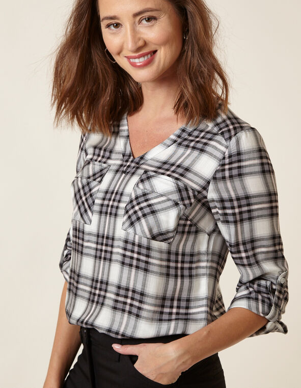 Plaid Roll Sleeve Blouse, Plaid, hi-res