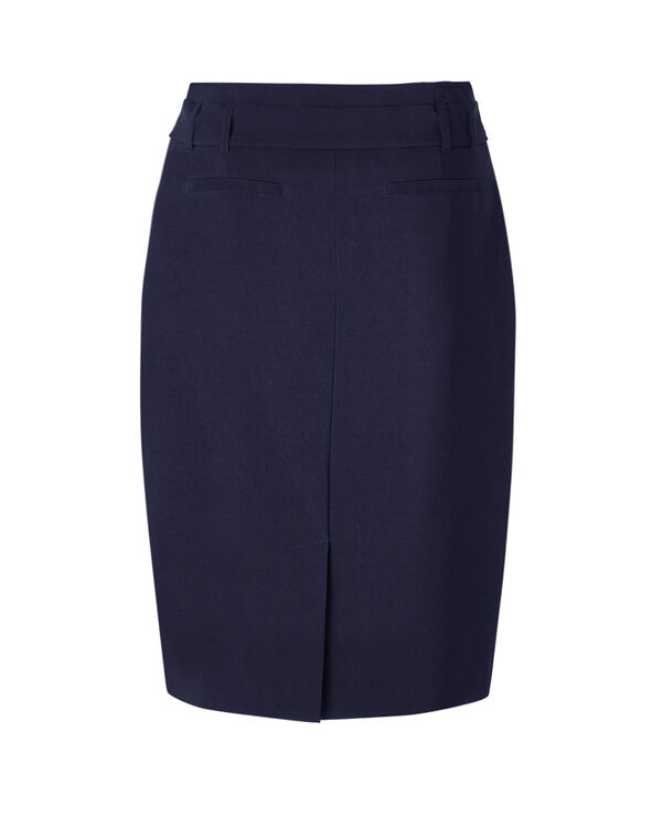 Navy Belted Pencil Skirt, Navy, hi-res