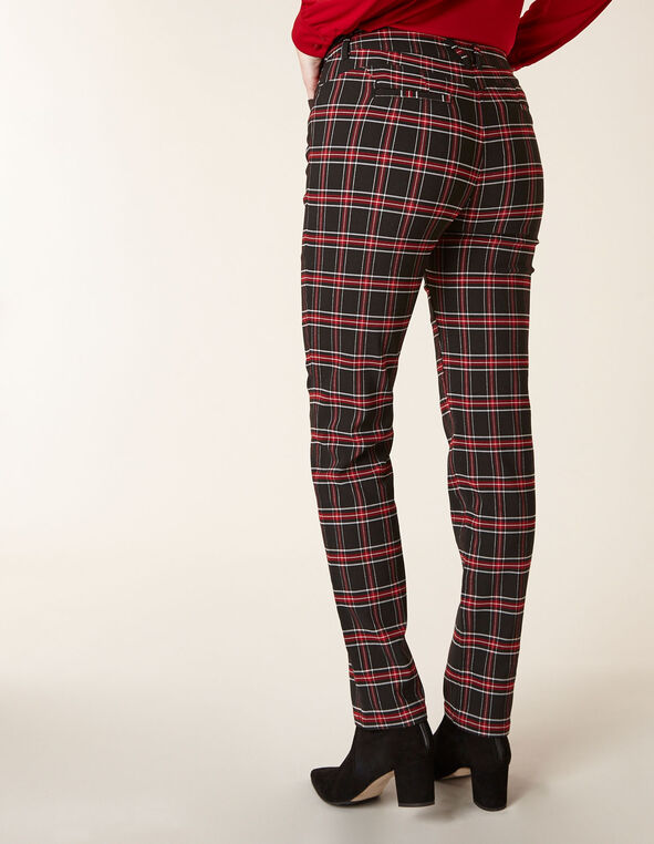 Ruby Plaid Butt Lift Slim Pant, Black/Red, hi-res