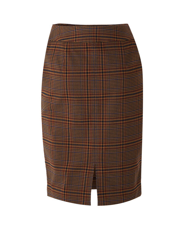 Camel Plaid Print Pencil Skirt, Camel, hi-res