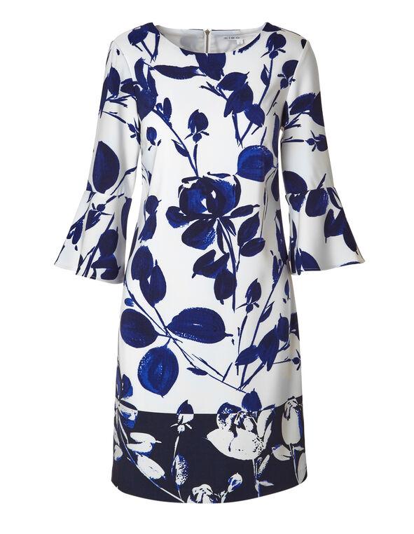 Blue Floral Bell Sleeve Dress, Blue, hi-res