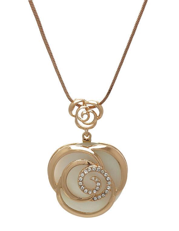 Rose Gold Cat Eye Flower Necklace, White, hi-res