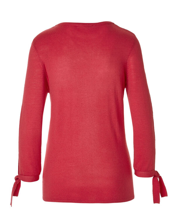 Fresh Pink Tie Pullover Sweater, Fresh Pink, hi-res