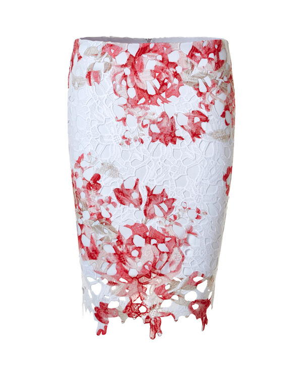 Lace Overlay Pencil Skirt, White, hi-res