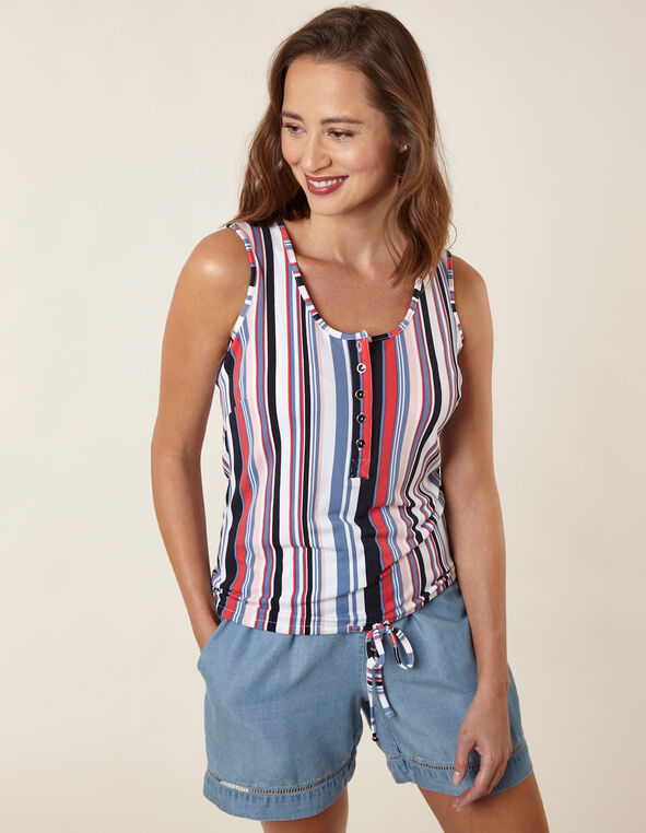 White Striped Henley Top, Blue/Pink/White, hi-res