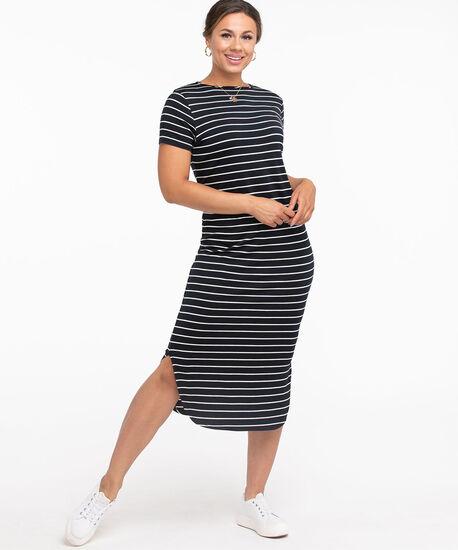 Striped Curved Hem Midi Dress, Navy/White Stripe, hi-res