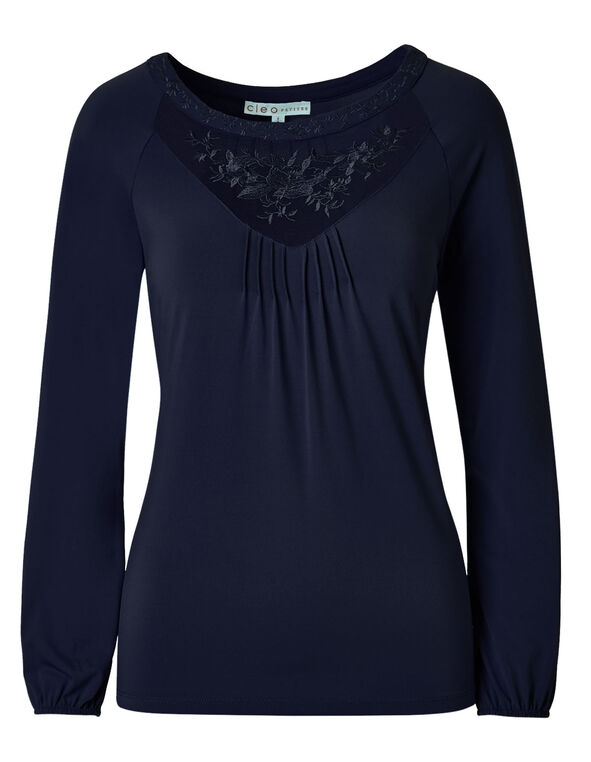 Navy Mesh Embroidered Top, Navy, hi-res