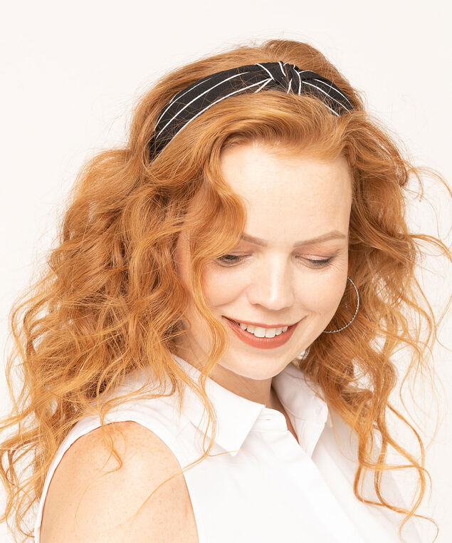 Pinstripe Knotted Headband, Black/White, hi-res