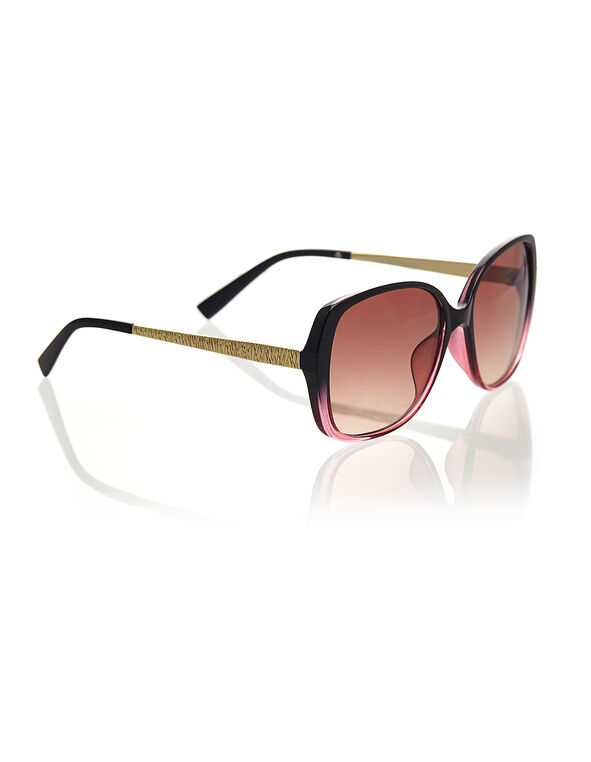 Ombre Two-Toned Large Sunglasses, Black/Pink, hi-res