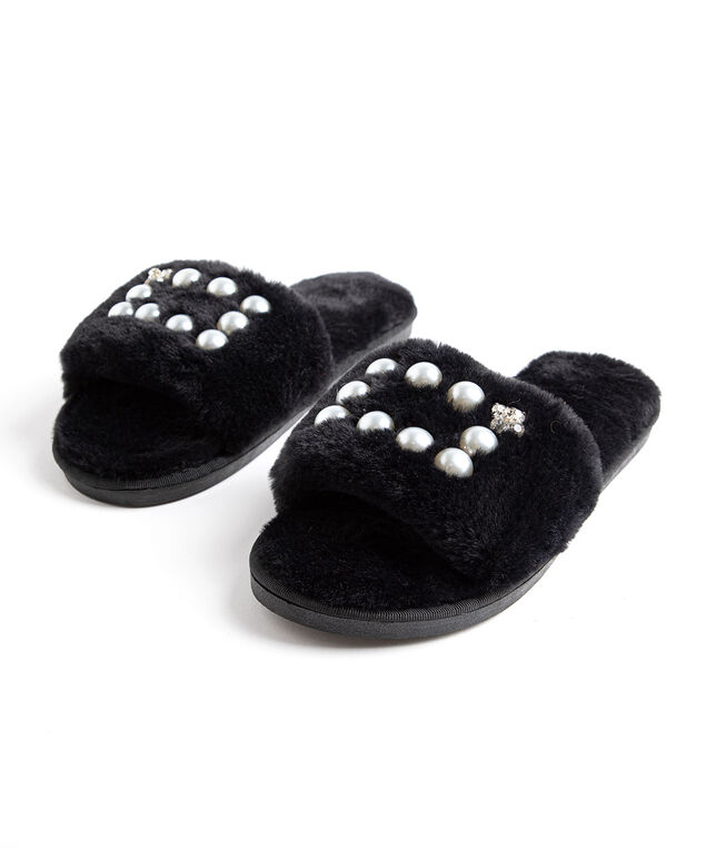 Plush Pearl Slippers, Black