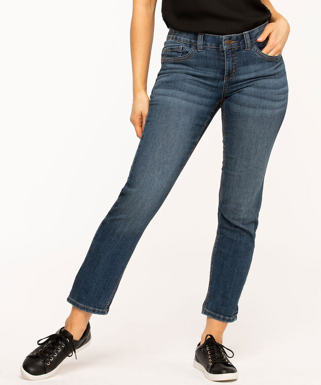 Dark Wash Slim Leg Girlfriend Jean, Dark Wash
