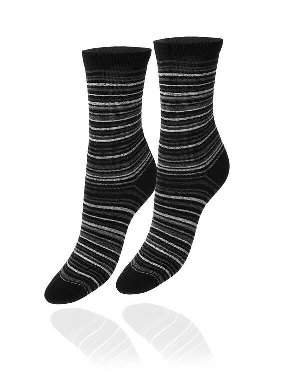 Black & Grey Striped Crew Sock, Black, hi-res