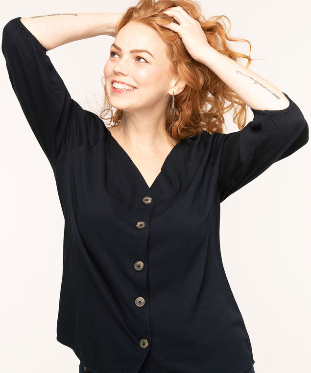Navy V-Neck Button Front Blouse, Navy