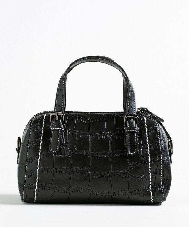 Black Croco Small Barrel Handbag, Black, hi-res