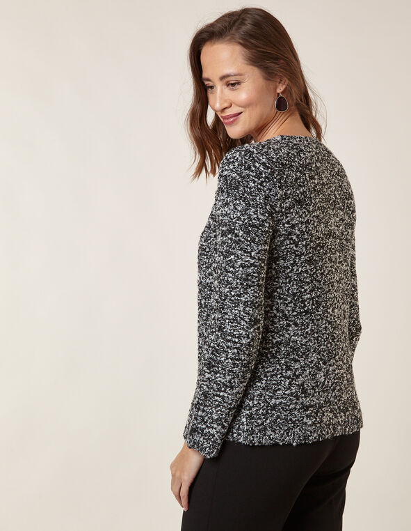 Black Boucle Cardigan, Black, hi-res