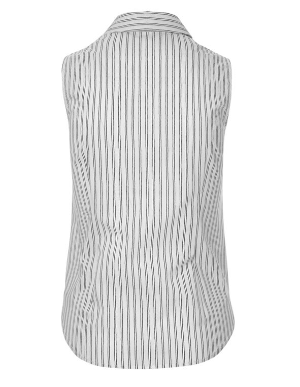 Striped Button Front Blouse, Stripe, hi-res