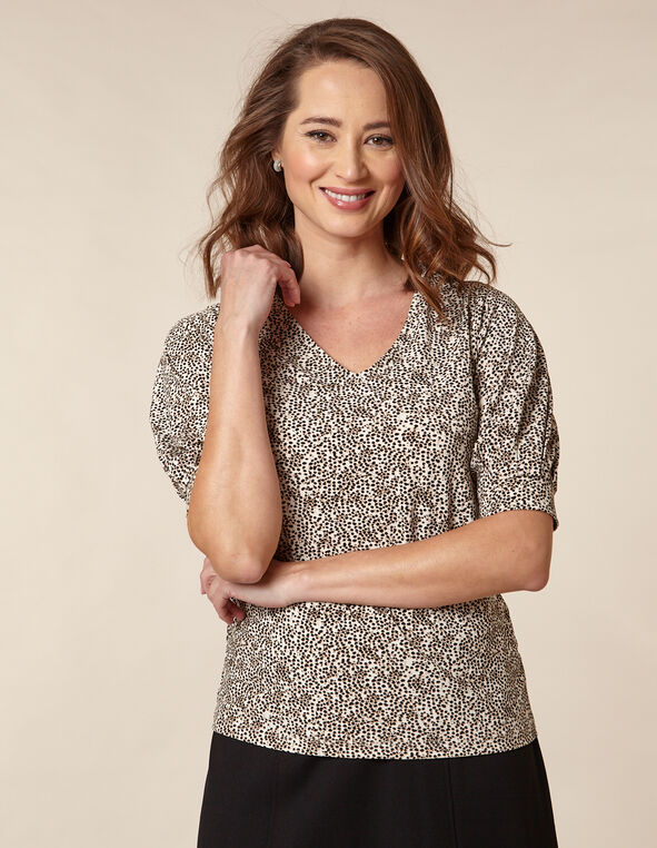 Small Dot Printed Top, Neutral, hi-res