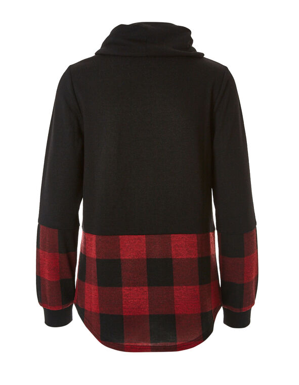 Black Plaid French Terry Top, Black, hi-res