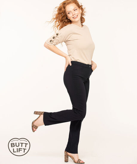 Navy Button Butt Lift Slim Pant, Navy, hi-res