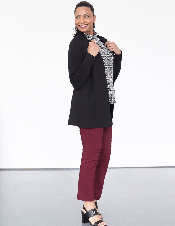 Black Long Crepe Cardigan, Black, hi-res