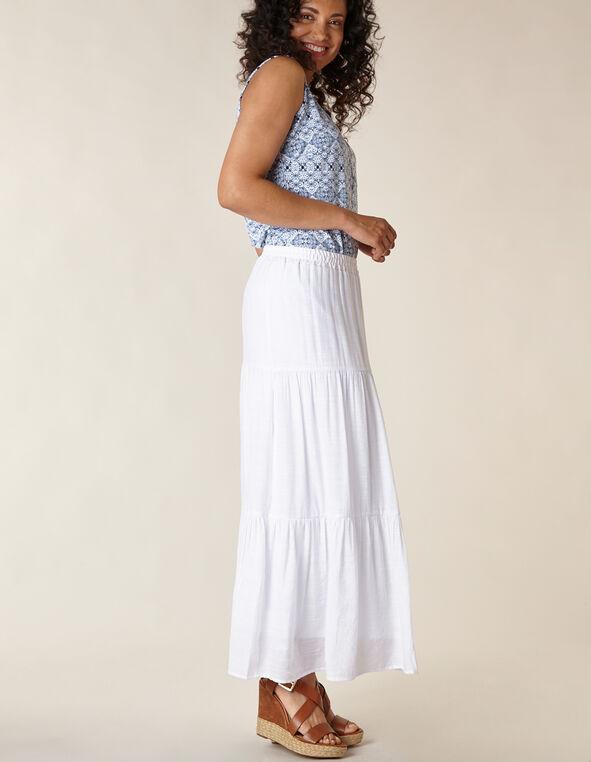 White Gauze Peasant Skirt, White, hi-res