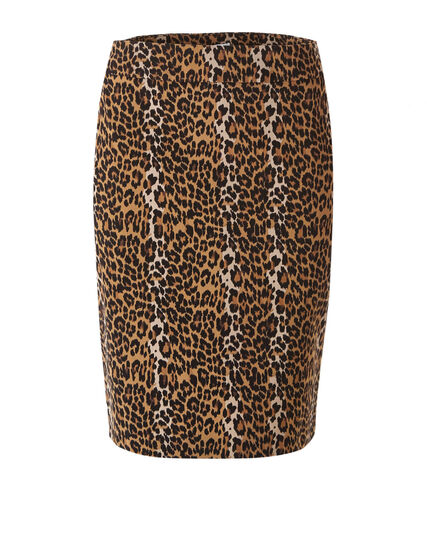 Leopard Printed Pull On Pencil Skirt, Brown, hi-res
