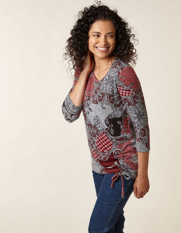 Grey Patterned Hacchi Side Tie Top, Grey/Red, hi-res